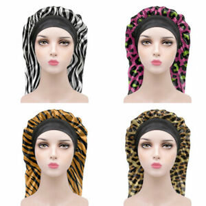 Long Sleep Cap Leopard Grain for Womens Hair Care Night Day Sleeping Hats Boneet
