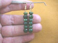 ee404-56) 8 mm Green Jade Canada gemstone beaded on gold wires dangle earrings