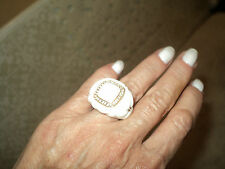 ITALIAN RING SILVER ROSE GOLD VERMEIL WHITE CERAMIC WITH ZIRCON*8 OR 55
