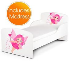 FAIRY DUST JUNIOR TODDLER BED + FOAM MATTRESS PINK/WHITE KIDS CHILDRENS GIRLS