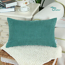 Polyester Cushion Covers Pillows Shell Corduroy Corn Striped Design Home 30x50cm Teal