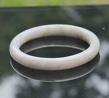 Natural Untreated (A) Opaque White Jadeite Jade Bangle Burma Minimalistic Medium
