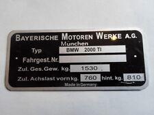 Typenschild BMW 2000 Ti Schild id-plate Neue Klasse NK S10