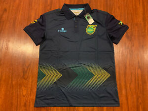 2015-16 Romai Men's Jamaica Soccer Polo Jersey Shirt Medium M Reggae Boyz Navy