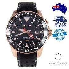 SEIKO Sportura SUN028 SUN028P1 Kinetic GMT Black Dial Leather Mens Watch