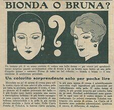 W6330 Bionda o Bruna? - Tokalon - Pubblicità 1929 - Advertising
