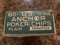"Vintage Anchor Poker Chips Pla-M-Wel Bakelite? Clay? 98- 1.5"" Blue Red White"