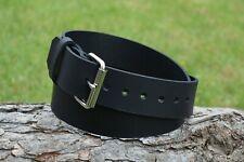 Christopher Piero Handmade Black Full Grain Leather Belt 1 3/4 in Roller Buckle