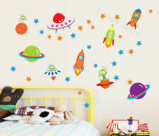 Space Wall Stickers Rocket Planet Stars and Aliens Wall Decal Childrens Room