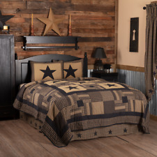 Farmhouse Rustic Primitive Country Black Check Star Queen Quilt & Shams Set