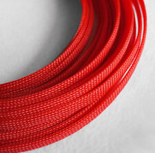 Braided Expandable Cable Loom Auto Harness Wire Sleeving Sheathing 15mm RED 5m
