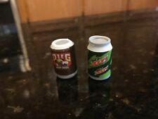 "Pug Root beer & Mtn Doom soda can 1"" figure"