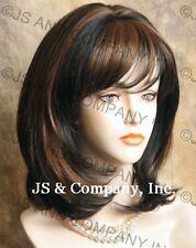 Human Hair Blend Medium Straight Brown Auburn MIx Wig HEAT SAFE Hair wma 4-27