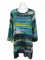 Logo Lori Goldstein Striped Tunic Cotton Modal Size L Chiffon Hem 3/4 Sleeve Top