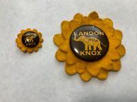 Lot 2 Different Vintage Flower Rim Landon Knox GOP Campaign Pins Buttons