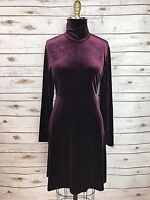 Amanda Smith Womens Dress Maroon Red Purple Velvet High Neck Long Sleeve Size 6P