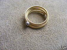 NEW 14K YELLOW GOLD SLINKY RING WITH  2PT DIAMOND