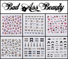 Glitter Bows Moustache Flowers Stars Skulls Lips 3D Nail Art Stickers UV Decals