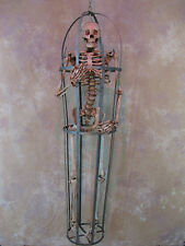 Skeleton Cage Life-Size w/ Aged Skeleton Halloween Prop, Human Skeletons