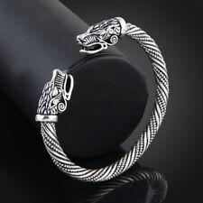 Mens Wolf Head Bracelet Jewelry Fashion Wristband Cuff Open Bangles Viking Gifts