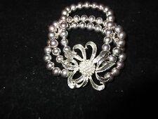 2 Layered Rhinestone Crystal Silver Stone Beaded Floral Stretchy Stretch Spring