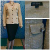 ST JOHN COLLECTION KNITS Yellow CREAM JACKET L 12 10 Blazer Pockets Buttons