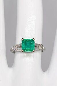 Antique $8000 2.50ct AAA+++ Colombian Emerald Diamond Platinum Wedding Ring