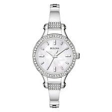 Bulova Women's Quartz Swarovski Crystal Accent Silver-Tone 27mm Watch 96L128