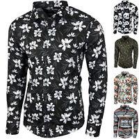 Blumen Hemden Herren Bunte Hemd Muster Freizeitshemd Langarm Mehrfarbig Shirt