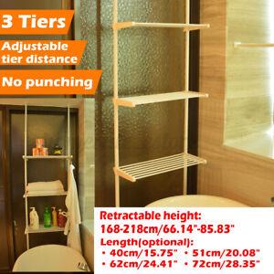 3 Tiers Over Toilet Storage Rack Shower Tension Pole Bathroom Adjustable  ~ NEW