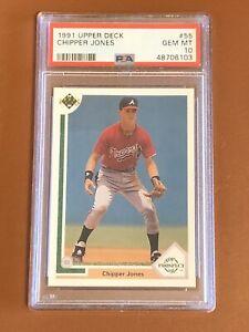 1991 Upper Deck Baseball Chipper Jones Card #55 PSA 10 GEM MINT! Top Prospect RC