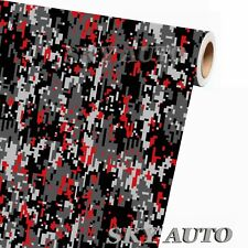 ( 1FT x 5FT ) DIGITAL GRAY RED Camouflage Vinyl Car Wrap Film Sheet