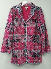 Euc Sigrid Olsen Sport Jacket FUZZY NUBBY Knit Wool Blnd Lined Coat Jacket SZ L