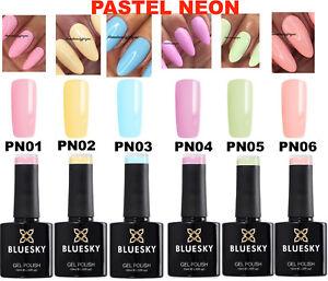 BLUESKY GEL POLISH PASTEL NEON PN01 - PN06 NAIL UV LED SOAK OFF,ANY 2=FILE+WIPES