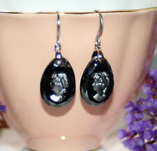 Vintage Czech hematite jet faceted glass cameo pendant dangle earrings