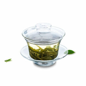 Clear Glass Gongfu Small Teapot Tea Cup with Lid & Saucer also Called Gaiwan