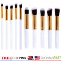 10pc Makeup Brush Set Foundation Eeyshadow Face Lip Kabuki Brushes White Gold