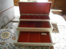 Vintage 3 Tier Buxton Large Jewelry Box Red Velvet Inside Necklace Hangers Cream