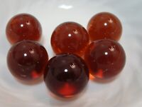 6 Vintage Transparent Jewel Gem Marbles 1IN Shooters Brown Collector Gift Play