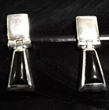 Design Dangle Post Back Earrings Stunning Estate Sterling Silver Onyx Inlay
