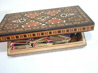 Antique Wooden Inlaid Cigar Box w Match Boxes Collection 20's  Vintage Estate