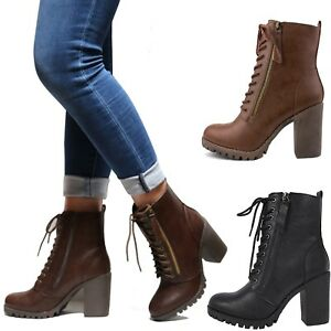 New Women Lace Up Combat Lug Sole Chunky Heel Ankle Boots Booties