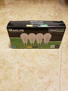 4 pack MaxLite 100 Watt Equivalent 15W Soft White LED Light Bulb Dimmable BUYNOW