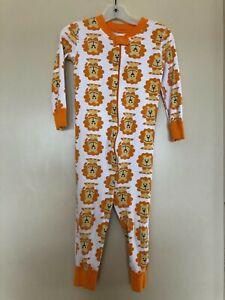 HANNA ANDERSSON orange yellow lions organic cotton sleeper   90   3 US