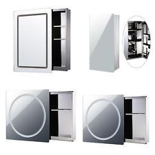 Round LED Cabinet Mirror Storage Bathroom Sliding Door Glass Wall Mounted 4 Type
