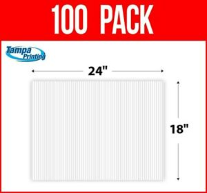 """100 pack WHITE BLANK 18"""" x 24"""" Plastic Corrugated 4mm Political Yard Signs Coro"""