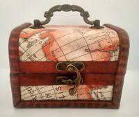 Baúl pequeño mini joyero madera forrado mapa decoración look vintage