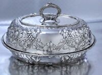Rare Antique Sterling Silver Repousse Covered Entree Dish Harris & Shafer, DC