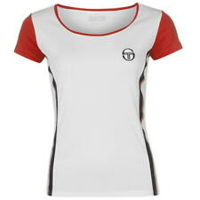 Sergio Tacchini Tennis T Shirt Ladies Tee Top Womens White Red UK L *REF41