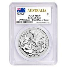 2020 1 oz Silver Australian Bull and Bear Coin Perth Mint PCGS MS 70 FDOI